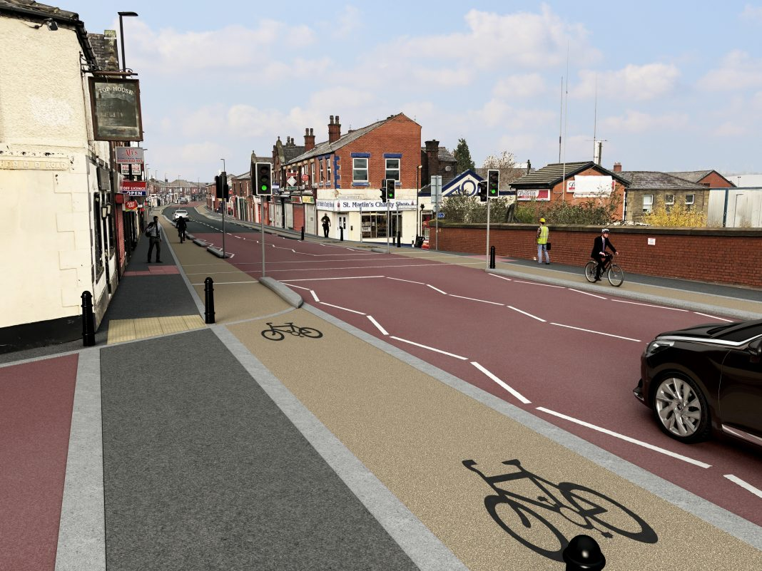 Artist's impression of the proposed for bike lane